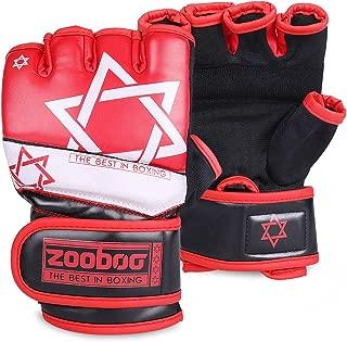 Flexzion Half Finger Boxing Gloves - Grappling MMA Muay Thai UFC Sparring Punch Ultimate Mitts Sanda Fighting Training Sandbag Equipment Pair for Adult Men