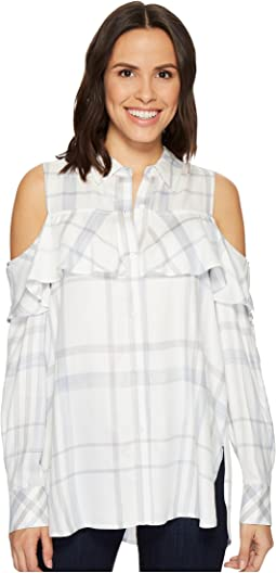 TWO by Vince Camuto - Long Sleeve Cold Shoulder Ruffled Space Dye Plaid Blouse