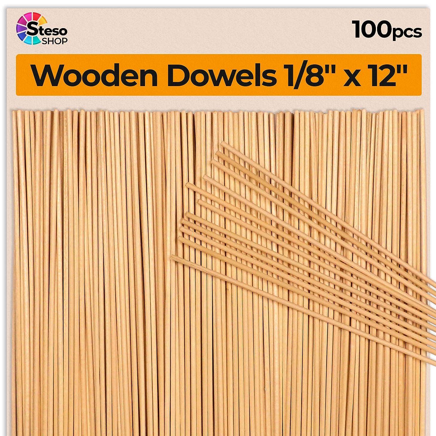 Dowel Rods 1/8 - Wooden Dowels 12 inch (30cm-3mm?) - 100 PCS - Thin Wooden Dowels for Crafts - Wood Dowel Model Building, Kids Crafts, Wedding Ribbon Wands, Events