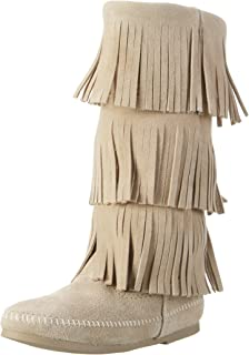 Minnetonka Womens Calf HI 3-Layer Fringe Boot Calf Hi 3-Layer Fringe Boot