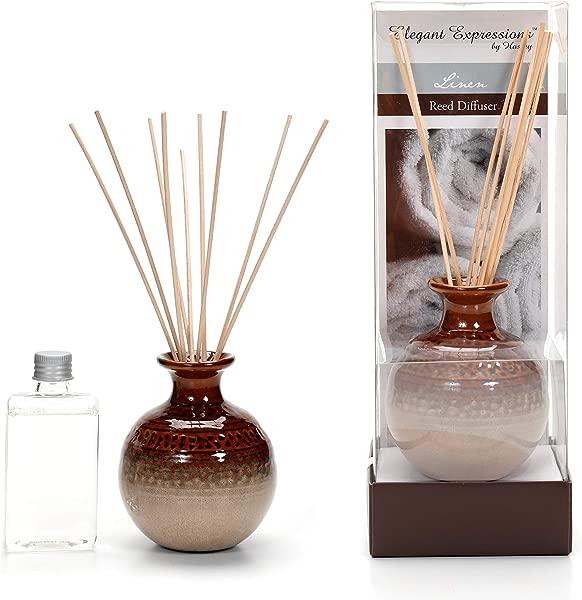 Hosley 活性釉陶瓷瓶和亚麻芦苇扩散油 100 理想的婚礼礼物水疗灵气冥想设置 O9