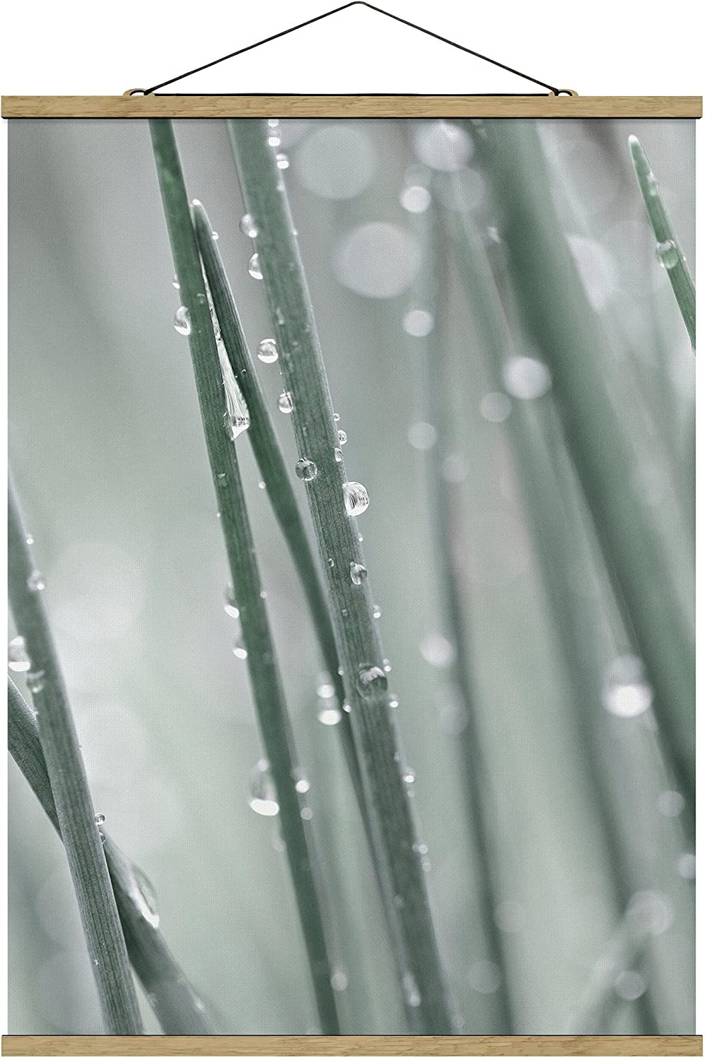Wall Bargain sale Hanging half - Macro Image Beads of On x 8 Grass 106.5cm Water