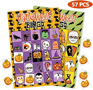 Unomor Halloween Games for Kids Party , 40 Players Halloween Party Games Bingo Card Games for Kids Halloween Party - 57PCS