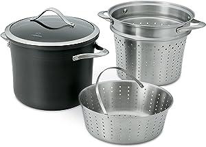 Calphalon Contemporary Hard-Anodized Aluminum Nonstick Cookware, Pasta Pot with Steamer Insert, 8-quart, Black - 1876992