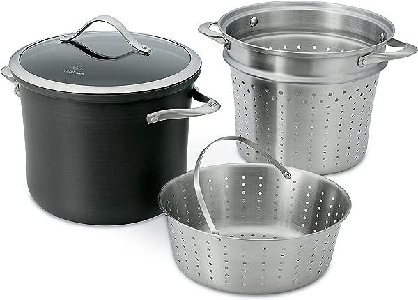 Calphalon Contemporary Hard Anodized Aluminum Nonstick Cookware Pasta Pot With Steamer Insert 8 Quart Black 1876992