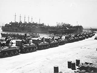 War WWII USA LST Tanks Invasion Sicily 1943 Photo Large XL Wall Art Canvas Print