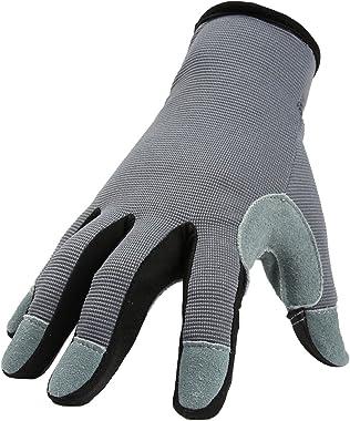 OZERO Utility Work Gloves Flex Deerskin Leather Touch Screen Garden Glove for Yard Working/Gardening/Bike Cycling/DIY/Mechani