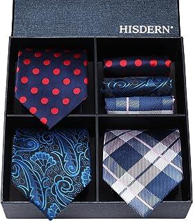 HISDERN Lotto 3 PCS Set cravatta e fazzoletto da taschino in seta da uomo classico elegante - Set multipli