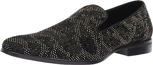 STACY ADAMS Hommes's Swank Glitter Dot Slip-On Loafer, noir or, 10.5 M US