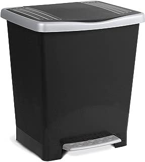 TATAY 1101427 - Millenium Cubo de Basura con Apertura a Pedal, 23 l de Capacidad, Plástico Polipropileno, Negro, 33,5 x 30 x 39 cm
