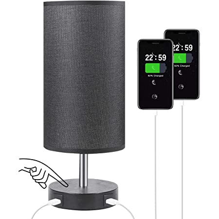 Touch Control Bedside Lamp with 2 USB Charging Ports, Aooshine Fully Stepless Dimmable Touch Lamp with Black Fabric Shade, Modern Table Lamp Bedroom Lamp for Living Room