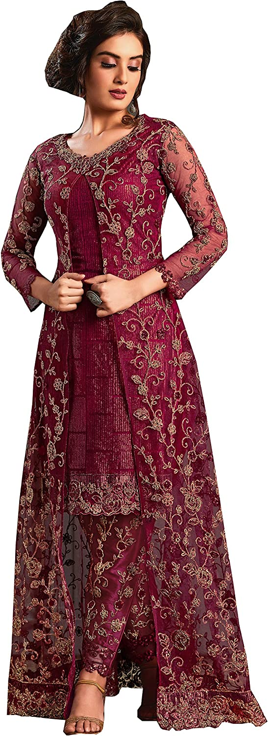 Wedding Party Wear Embroidered Koti Style Salwar Kameez Indian Dress Ready To Wear Salwar Suit For Women 4592 At Amazon Women S Clothing Store