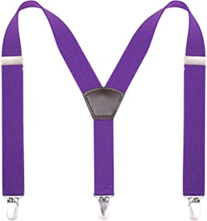 Kids Boy Men Suspenders , Purple 24 inches Y Shape Solid Color 1 Inch Wide Adjustable Suspender 7 Months - 3 Years