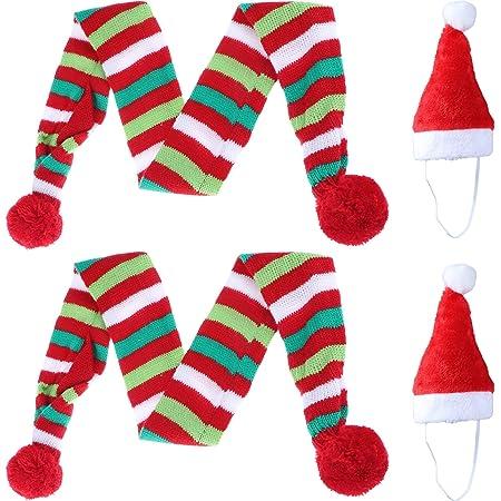 4 bufandas de Navidad para perro y gato, gorro de Papá Noel, 2 bufandas a rayas y 2 gorros de Navidad para mascotas de Papá Noel, 14 x 19 cm, elegante accesorio para perro cachorro o gato (bufanda M + sombrero)