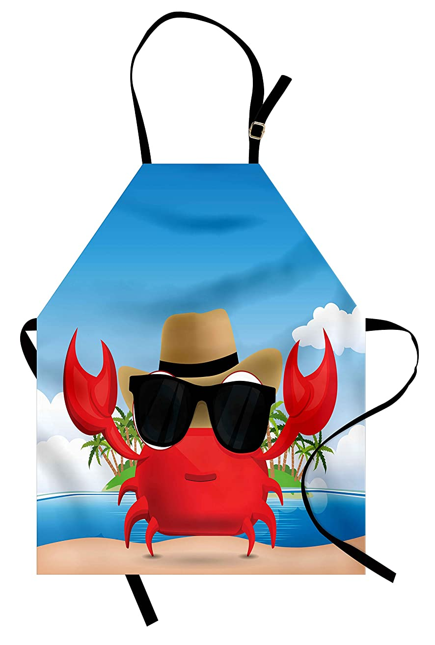 Ambesonne Crabs Apron, Cool Crustacean with Black Sunglasses and a Hat Summer Vacation on Tropical Island, Unisex Kitchen Bib Apron with Adjustable Neck for Cooking Baking Gardening, Red Blue