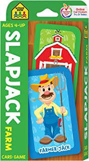 School Zone - Slapjack Farm Card Game - Ages 4+, Preschool to Kindergarten, Animals, Counting, Matching, Vocabulary, and More (School Zone Game Card Series)