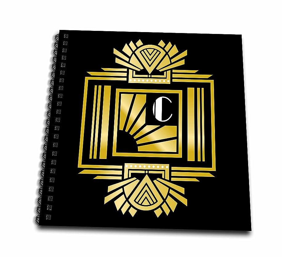 3D Rose Art Deco Monogram Letter C Drawing Book