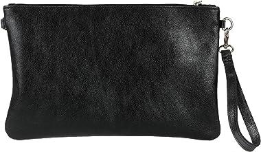 Girly Handbags Cuero genuino bolso de embrague metálico italiana