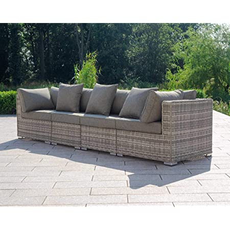 StellaHome Patio Furniture Deck Sofa Outside No Assembly Aluminum Grey Wicker Furniture Free Raincover and Clips