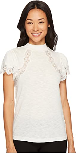 Rebecca Taylor Short Sleeve Lace Jersey Top