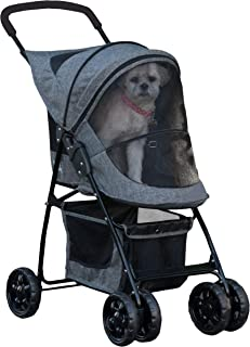 Pet Gear Happy Trails Pet Stroller for Cats/Dogs, Easy Fold with Removable Liner, Storage Basket, Classic Grey