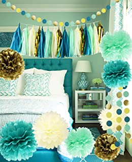 Qian`s Party Teal Mint Cream Gold Bridal Shower Decorations/Teal Mint Gold Wedding Decorations Tissue Pom Pom Flowers for Teal Mint Gold Birthday Party Supplies/Bachelorette/Baby Shower Decorations