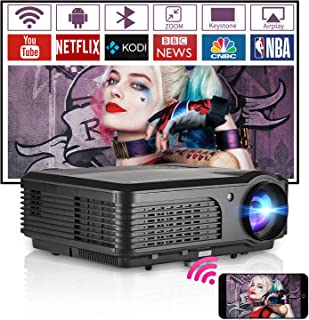 WiFi Bluetooth Projector 4400 Lumen Support 1080p Wireless Ceiling Outdoor Movie Theater Gaming Wxga HD Smart Projectors w...