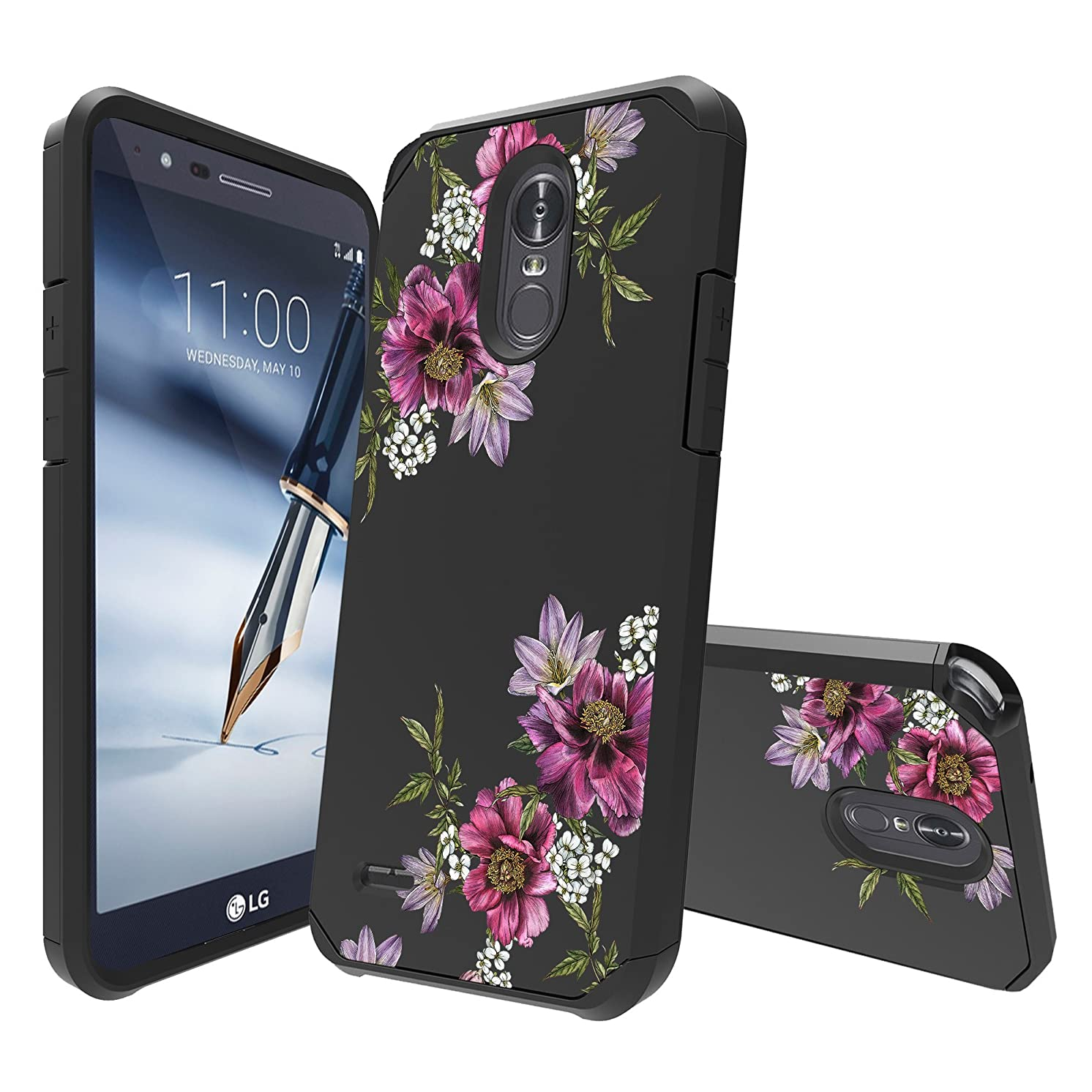 MINITURTLE Case Compatible with LG Stylo 4 / LG Q Stylus [Floral Print Series][Cute Hybrid Case for Girls][Floral Print][2-Part Silicone & Shell Case] - Purple Floral Vine