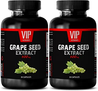 antioxidant Natural Supplement - Grape Seed Extract 100 MG - grapeseed 100mg - 2 Bottles 60 Capsules