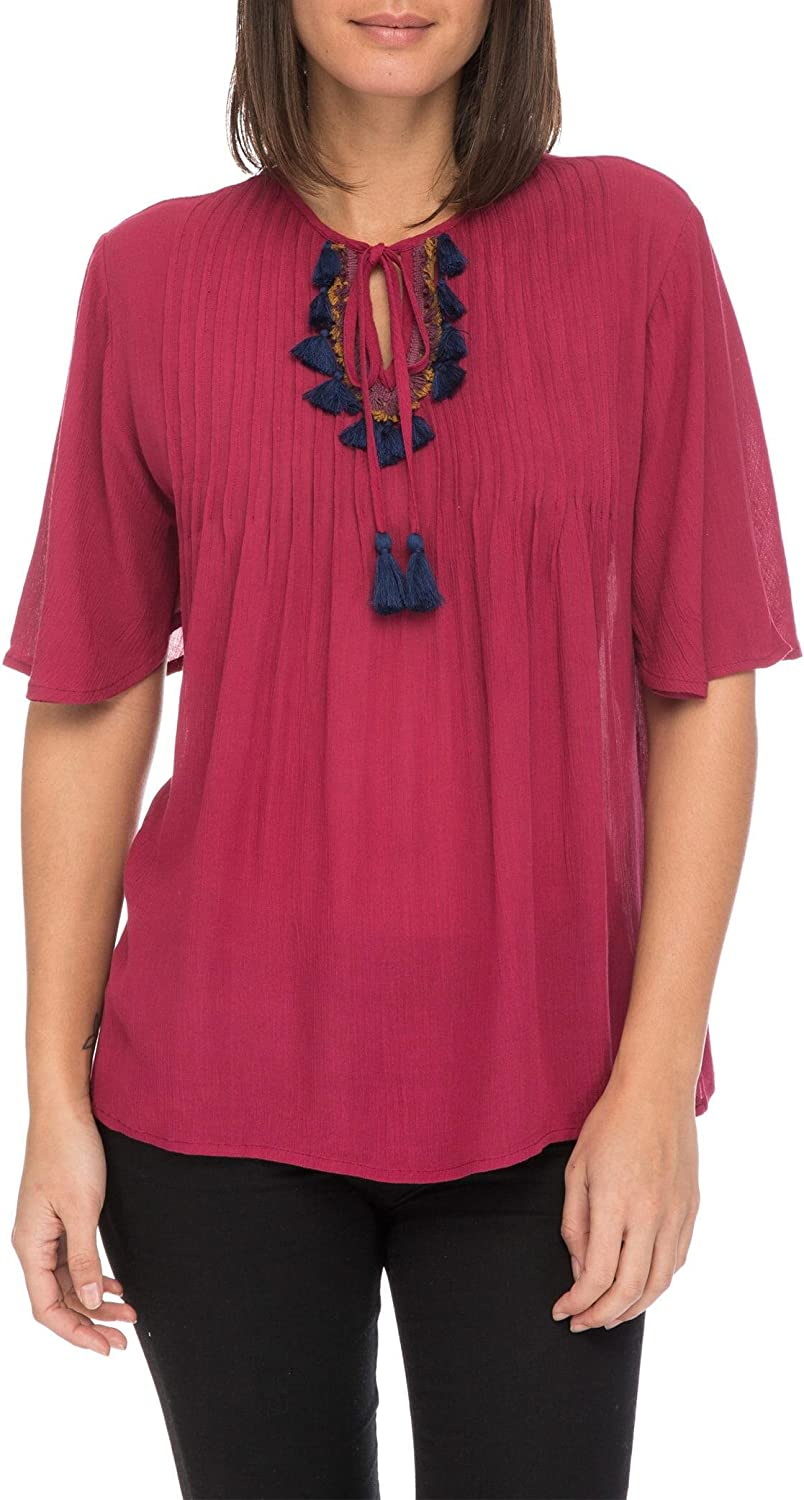 Bobeau Michalina Blouse with Fringe