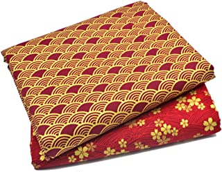 iNee Japanese Sakura Cherry Blossoms Waves Fat Quarters Quilting Fabric Bundles,18x22 inches, (Red)