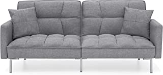 Best Choice Products Convertible Linen Splitback Futon Sofa Couch Furniture w/Tufted Fabric, Pillows - Dark Gray