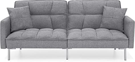 Best Choice Products Living Room Convertible Linen Fabric Tufted Splitback Sleeper Plush Futon Couch Furniture w/ Pillows - Dark Gray