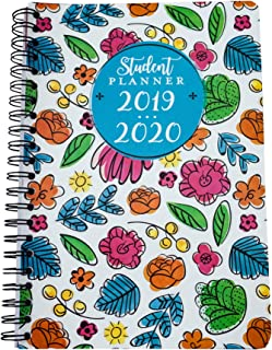Student Planner for Academic Year 2019-2020 Weekly/Monthly 5.5X 8 Best Spiral Notebook for Elementary Middle or High School Back to School Supplies for Girls (Flowers)
