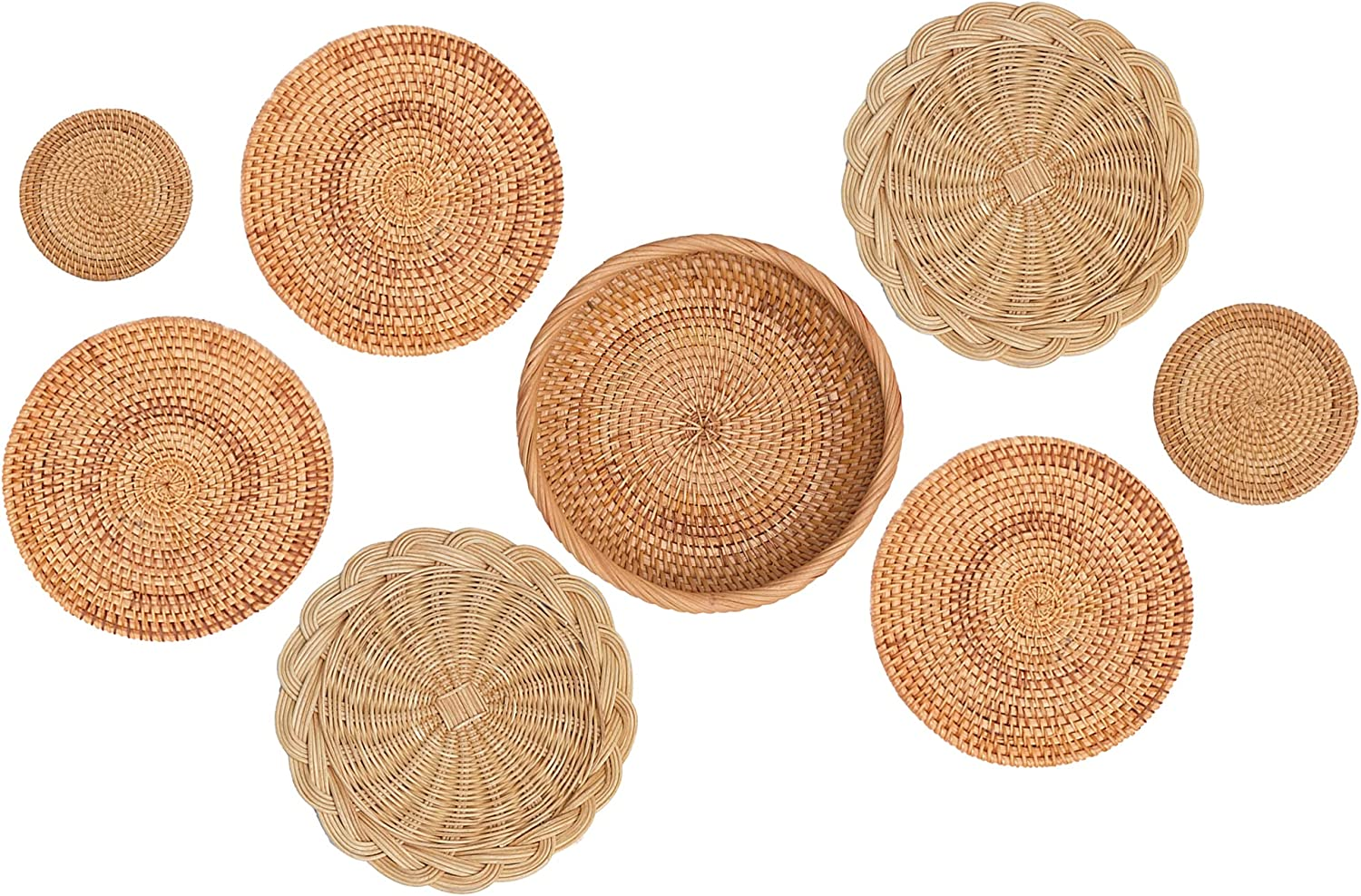 ChicnChill African Wall Baskets/Coasters, Set 8 of Wall Baskets Decor Boho Set, Handwoven Placemats of Bamboo for Wall Hanging