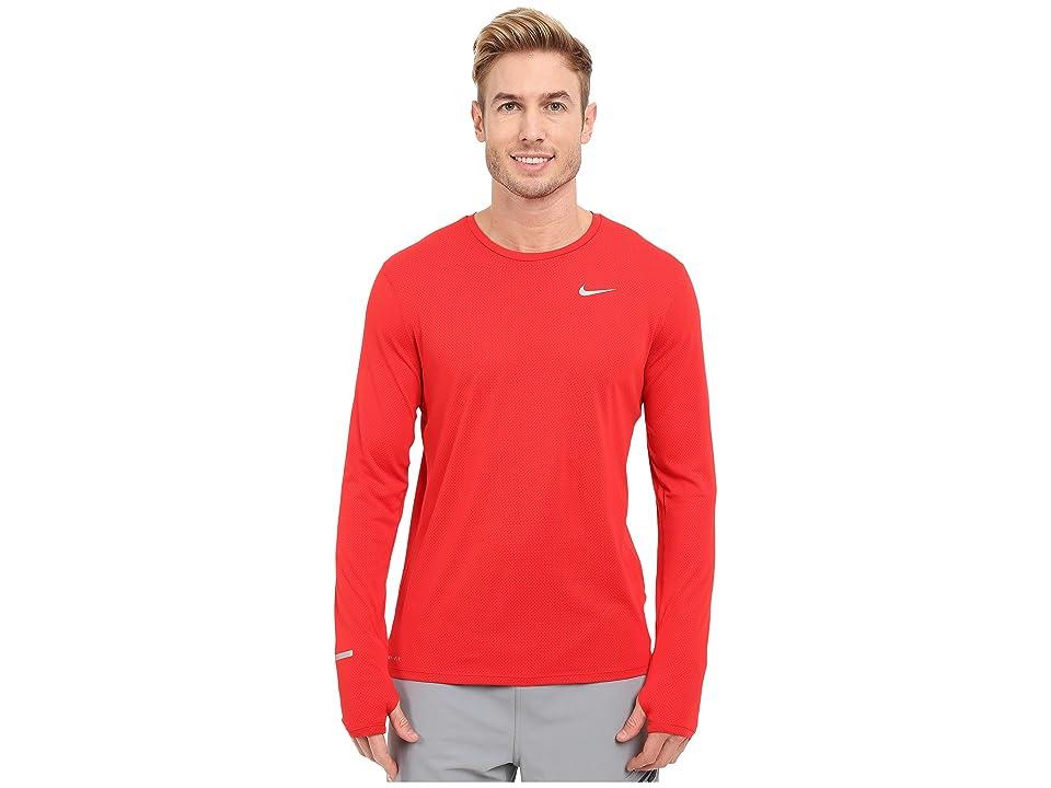 Nike Dri-FITtm Contour L/S Running Shirt (University Red/Reflective Silver) Men