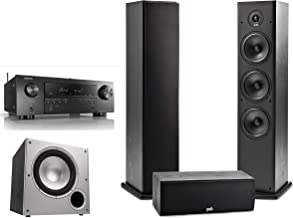 Polk Audio 3.1 Channel Home Theater System with Powered Subwoofer & Denon AVR-S650H Receiver | One (1) T30 Center Channel, Two (2) T50 Tower Speakers, PSW10 Sub | Alexa + HEOS