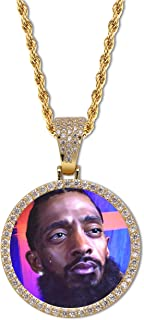GUCY Picture Necklace for Women Men Personalized Custom Photo Round Necklace Rope Chain