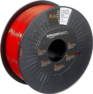 Amazon Basics filament do drukarki 3D z tworzywa sztucznego PLA, 1,75 mm, przezroczysty czerwony, szpula 1 kg