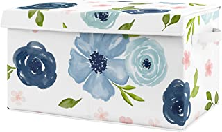Sweet Jojo Designs Navy Blue Watercolor Floral Girl Small Fabric Toy Bin Storage Box Chest for Baby Nursery or Kids Room -...
