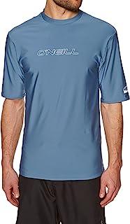 O'Neill Basic Skins Short Sleeve Rash T-Shirt Tee T Shirt Top Dusty Blue Slim Fit - UV Sun Protection and SPF Properties