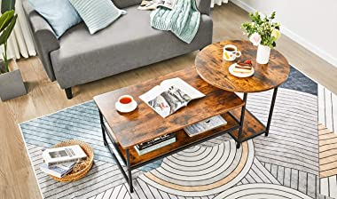 WOHOMO Coffee Table Round Coffee Table and Rectangular Coffee Table 2 in 1 Industrial Modern Style Coffee Table for Living Ro