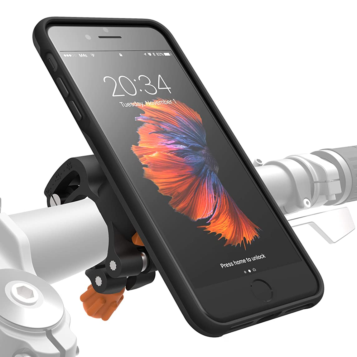 MORPHEUS LABS M4s iPhone 8 Plus Bike Mount, Phone Holder & iPhone 8 Plus Case, Bicycle Holder, fits Most Handlebars, 360 Rotation, Stand, Bike Kit for iPhone 8 Plus / 7 Plus / 7Plus / 8Plus [Black]