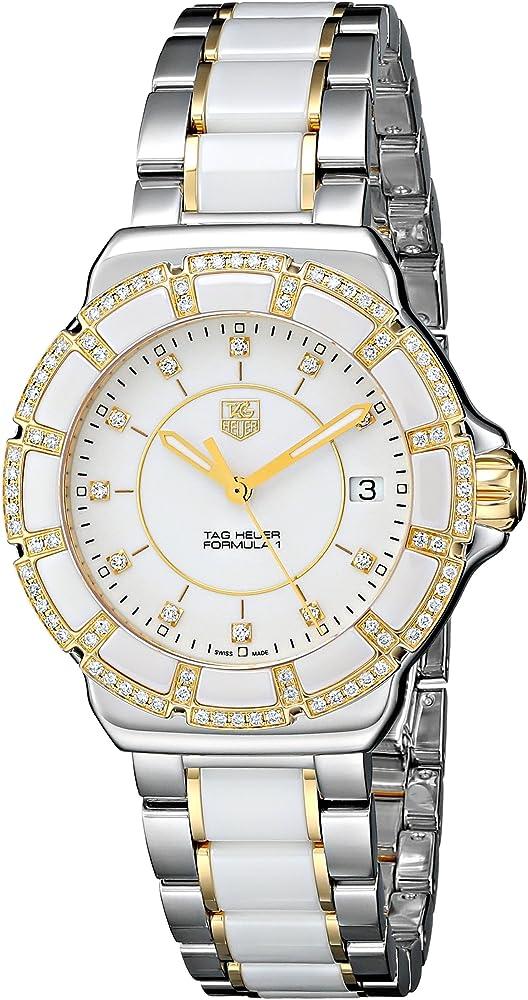 Tag heuer formula 1, orologio da donna, in acciaio placcato oro,ceramica e diamanti WAH1221.BB0865