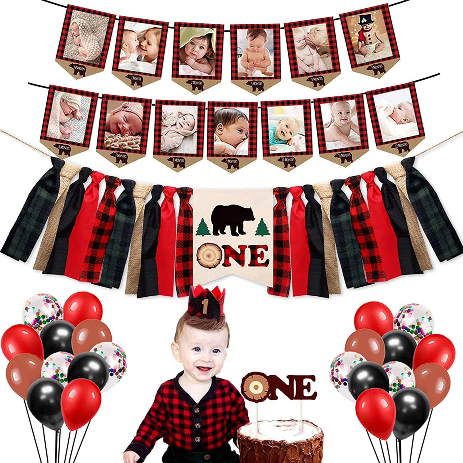Spring new work one after another Lumberjack First Birthday Party Supplies Super sale - P Buffalo Decorations