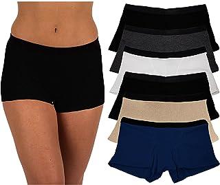 Sexy Basics Women's 6 Pack Modern Active Buttery Soft Boy Short Boxer Brief Panties