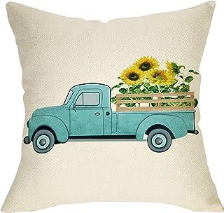"Softxpp Summer Farmhouse Throw Pillow Cover Vintage Sunflower Truck Decoration Sign Home Decor Cushion Case Decorative for Sofa Couch 18"" x 18"" Inch Cotton Linen"