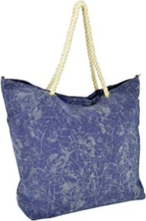 DALIX 水洗颜料染色帆布手提包按扣棉质提手 灰色 蓝色 黑色 *蓝 大
