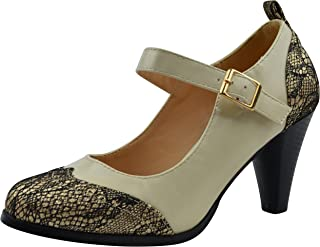 a8bb71f08e3 Chase   Chloe Dora-2 Women s Round Toe Two Tone Mary Jane Pumps