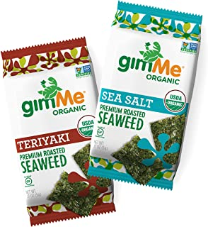 gimMe Snacks - Organic Roasted Seaweed - Variety Pack - (.17oz) - (Pack of 12) - non GMO, Gluten Free - Healthy on-the-go ...